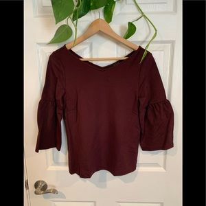 Ann Taylor burgundy top with floaty sleeves